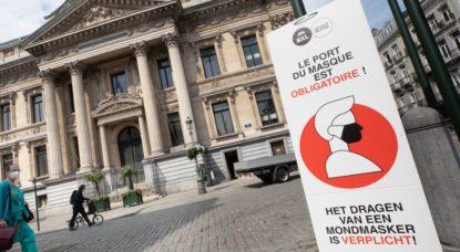 Port du masque obligatoire Panneau Ville de Bruxelles - Belga Benoit Doppagne