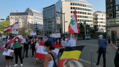 Une action de solidarité s'est déroulée place Schuman en hommage aux victimes libanaises