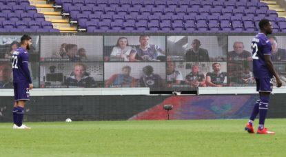 Stade RSC Anderlecht vide - Supporters par Zoom - Belga Virginie Lefour
