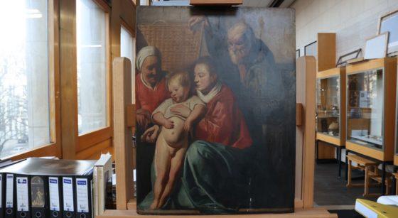 Illustration La Sainte Famille - Tableau retrouvé à la Maison communale de Saint-Gilles - Belga Virginie Lefour