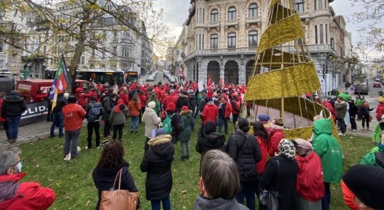Manifestation FGTB Droit de manifester 10122020 - Belga Maarten Weynants