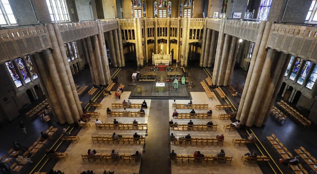Messe église Basiilique du Sacré-Coeur Koekelberg Covid-19 - Belga Thierry ROge