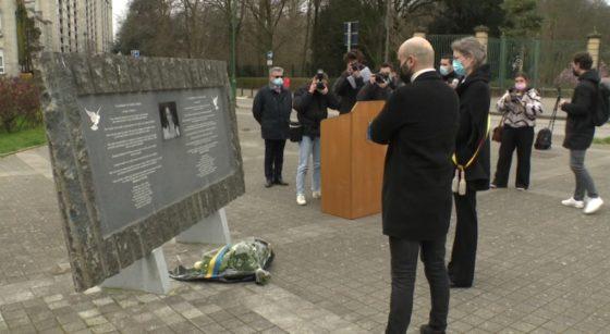 Stèle Loubna Lafquiri Hommage Attentats Molenbeek - Capture BX1