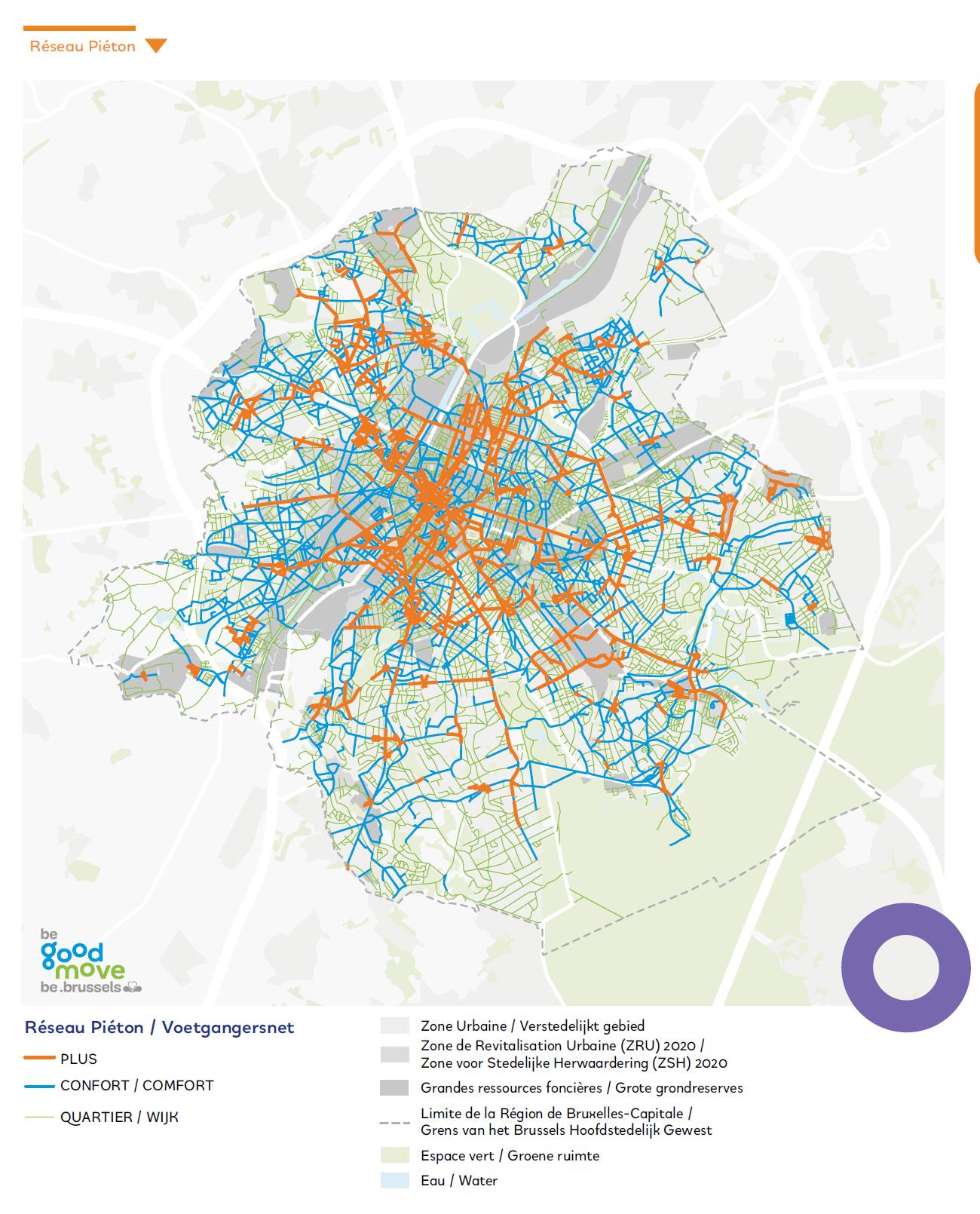 Carte Trottoirs Piétons - Bruxelles Mobilité