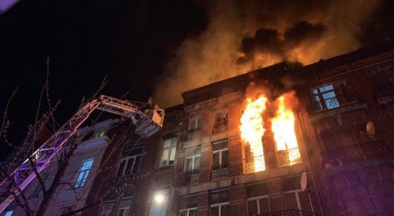 Incendie Rue Heyvaert Anderlecht 19042021 - Pompiers de Bruxelles Walter Derieuw