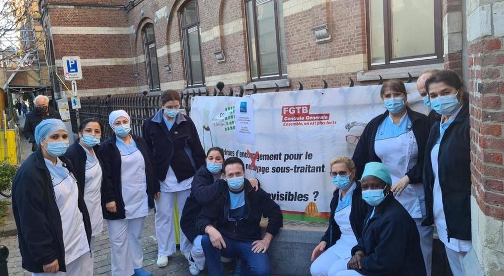 Personnel entretien Hôpitaux Action CSC - Photo Facebook CSC Alimentation et services