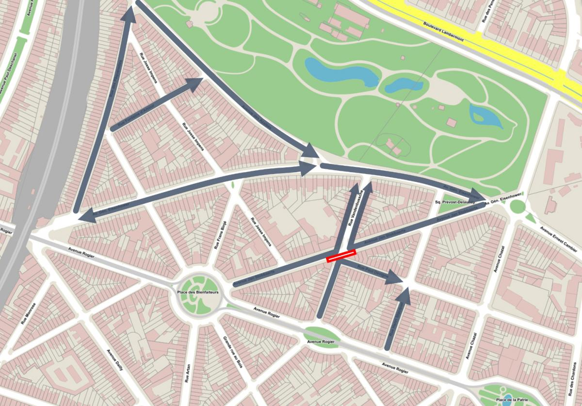 Avenue des Azalées Schaerbeek - Plan de circulation