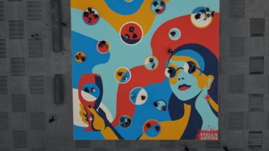 Place de la Monnaie : une œuvre de street art pour célébrer la réouverture de l'Horeca