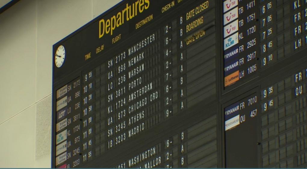 Tableau des départs vols Brussels Airport Zaventem - Capture BX1