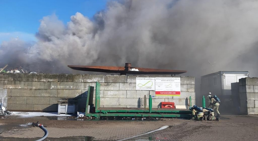 Incendie Usine recyclage Métaux Avenue de Vilvorde 2 - Walter Derieuw Pompiers de Bruxelles