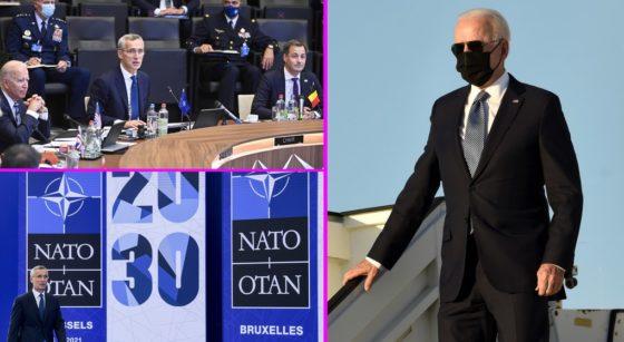 Montage Joe Biden Sommet OTAN V2 - Belga Didier Lebrun Frédéric Sierakowski Laurie Dieffembacq