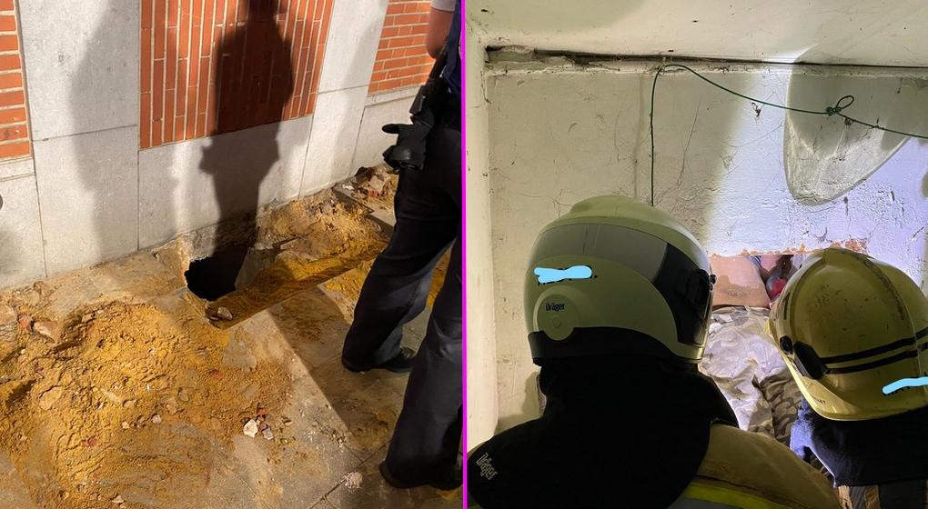 Sans-abri coincé dans un soupirail Koekelberg - Pompiers de Bruxelles
