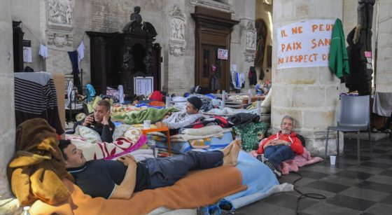 Sans-papiers Grève de la faim Église du Béguinage - Belga Laurie Dieffembacq