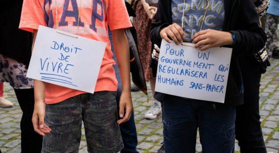 Sans-papiers Grève de la faim Église du Béguinage Manifestation Mai 2021 - Belga Juliette Bruynseels
