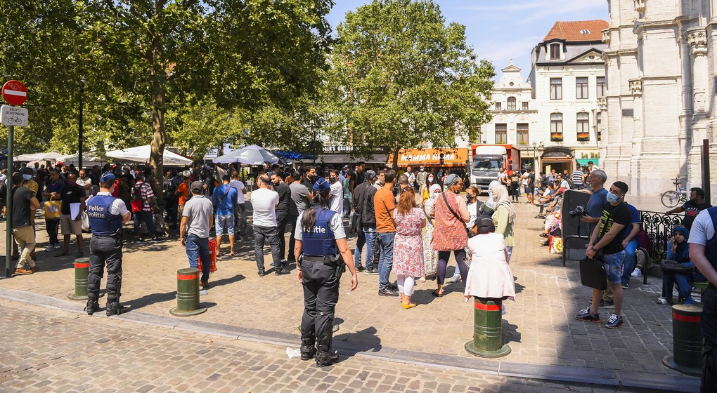 Zone neutre Sans-papiers Police 23072021 - Belga Laurie Dieffembacq
