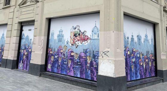 Fresque Kid Paddle Bourse - Ville de Bruxelles