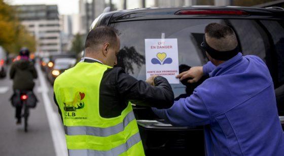 Manifestation Chauffeurs LVC Uber 30092021 - Photo 1 - Belga Hatim Kaghat