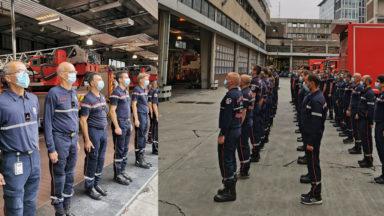 Vingt ans après les attentats du 11 septembre, les pompiers bruxellois observent une minute de silence